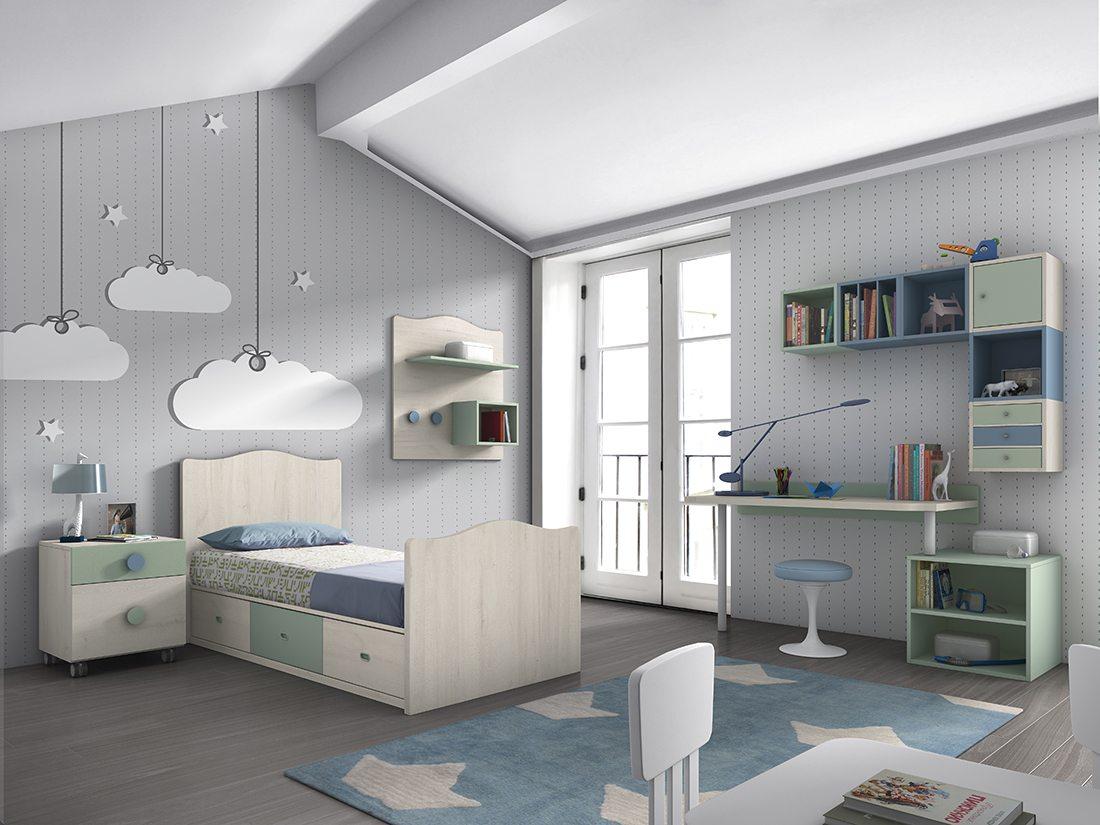 Dormitorio juvenil kroma ambiente 4 en tonos azules y verdes tienda de muebles lucama - Muebles juveniles valladolid ...