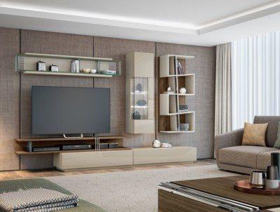 Salón moderno Evanyrouse en tonos beige y madera. Muebles Lucama Interiorismo.