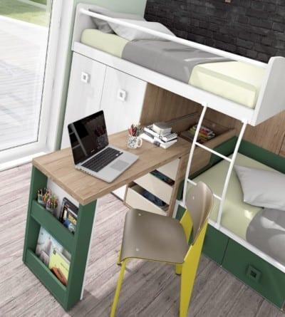 Dormitorio juvenil Montes Desing: Escritorio extraíble colección Style Plus