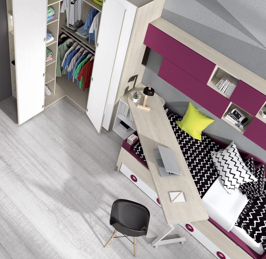 Dormitorio juvenil Montes Desing: Escritorio giratorio colección Style Plus