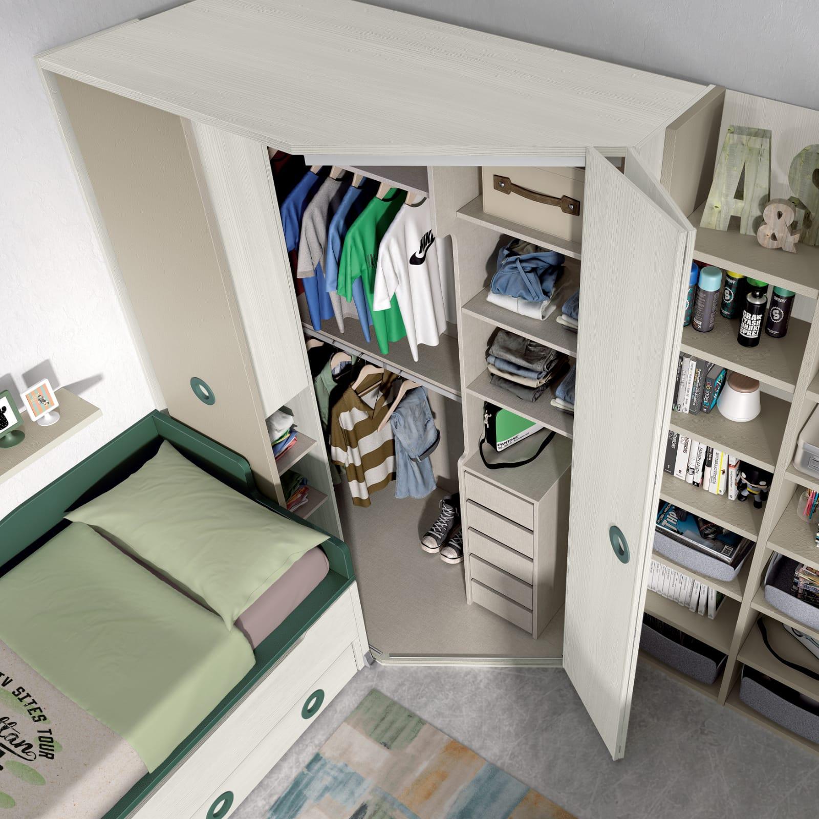 Dormitorio juvenil Montes Desing: Vestidor Colección Style Plus