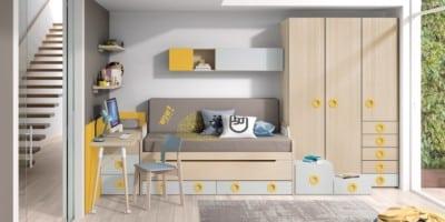 Dormitorio juvenil Montes Desing: Composición amarilla de la colección Style Plus