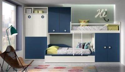 Dormitorio juvenil Montes Desing: Composición azul de la colección Style Plus