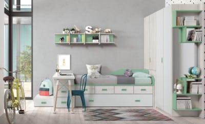 Dormitorio juvenil Montes Desing: Composición verde y blanco de la colección Style Plus