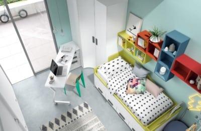 Dormitorio juvenil Montes Desing: Escritorio giratorio verde colección Style Plus