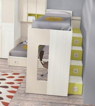 Dormitorio juvenil Montes Desing: Litera corredera colección Style Plus