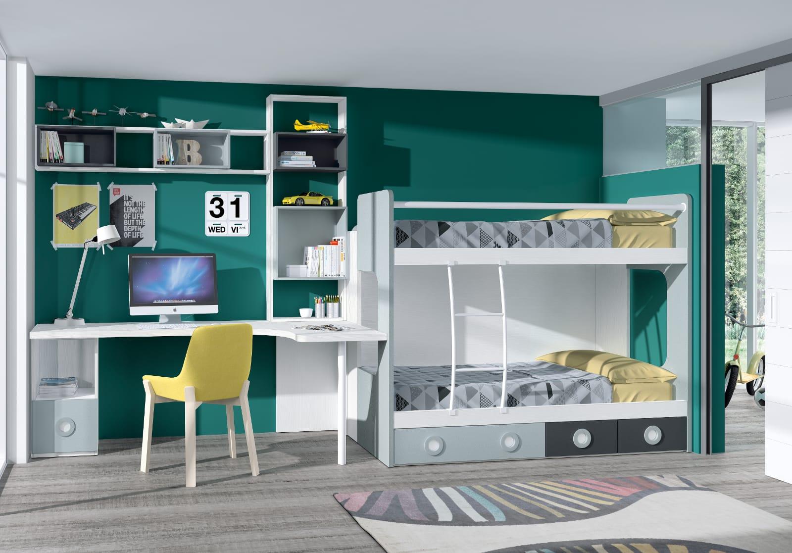 Dormitorio juvenil Montes Desing: Litera escritorio colección Style Plus