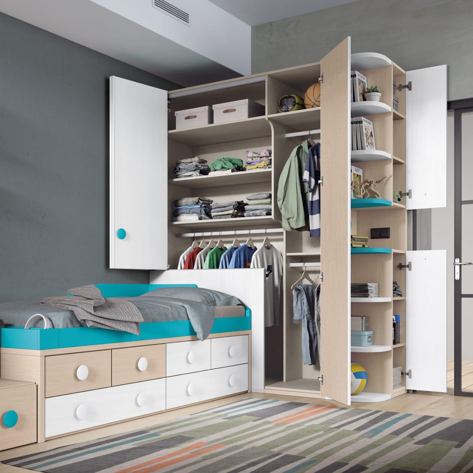 Dormitorio juvenil Montes Desing: Colección Style Plus tono azul
