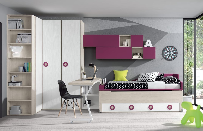 Dormitorio juvenil Montes Desing: Colección Style Plus en tonos rosas
