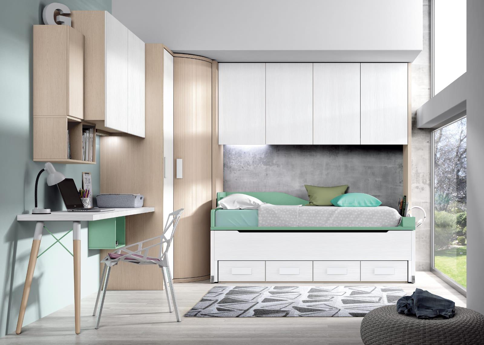 Dormitorio juvenil Montes Desing: Colección Style Plus tonos verde y blanco
