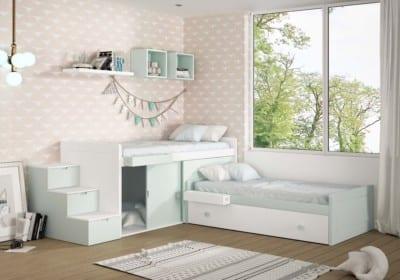 Dormitorio Juvenil Piñero y Cabrero: Dos camas blanco y verde