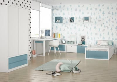 Dormitorio Juvenil Piñero y Cabrero: Azul y blanco