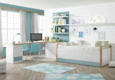 Dormitorio Juvenil Piñero y Cabrero: Tonos azul, blanco y roble.