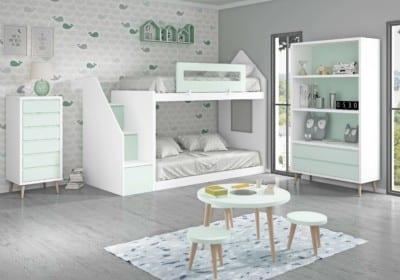 Dormitorio Juvenil Piñero y Cabrero: Tonos blanco y aguamarina
