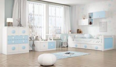 Dormitorio Juvenil Piñero y Cabrero: Tonos blanco y azul claro