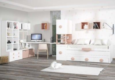 Dormitorio Juvenil Piñero y Cabrero: Tonos blanco y carne.