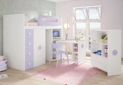 Dormitorio Juvenil Piñero y Cabrero: Tonos blanco y lavanda