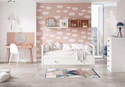 Dormitorio Juvenil Piñero y Cabrero: Tonos blanco y melocotón