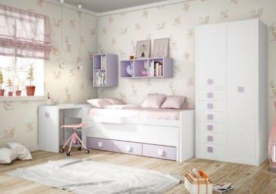 Dormitorio Juvenil Piñero y Cabrero: Tonos blanco y morado