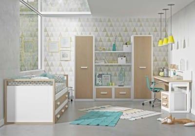 Dormitorio Juvenil Piñero y Cabrero: Tonos blanco y roble