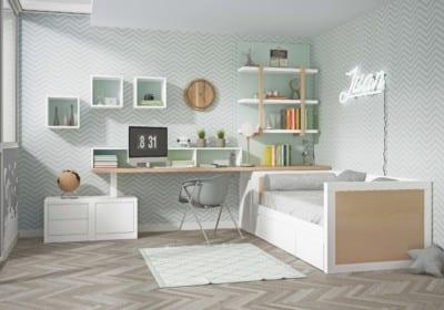 Dormitorio Juvenil Piñero y Cabrero: Tonos blanco, roble y agua