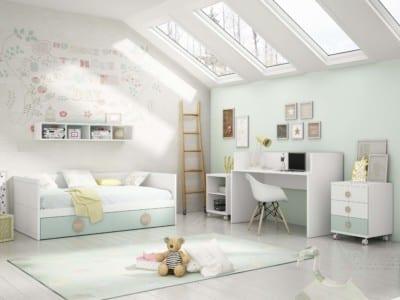 Dormitorio Juvenil Piñero y Cabrero: Tonos blanco, roble y verde