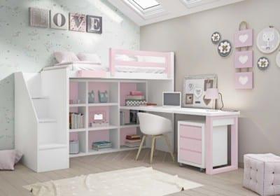 Dormitorio Juvenil Piñero y Cabrero: Tonos blanco y rosa