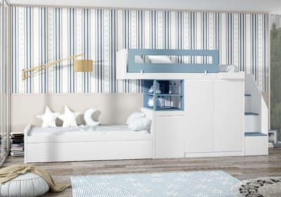 Dormitorio Juvenil Piñero y Cabrero: Tonos blancos y azules