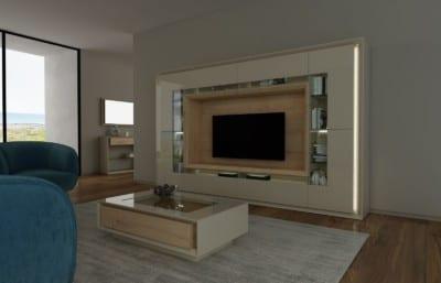 Salón moderno: Modelo blanco y madera