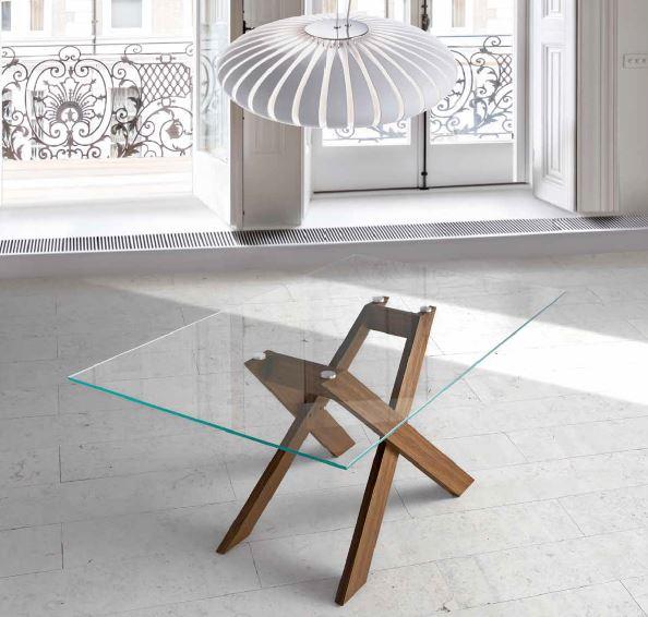 Auxival mesa auxiliar cristal y madera