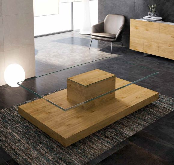 Auxival mesa centro madera crista superior