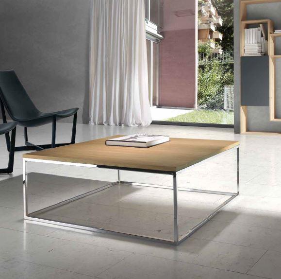 Auxival mesa de centro madera cuadrada