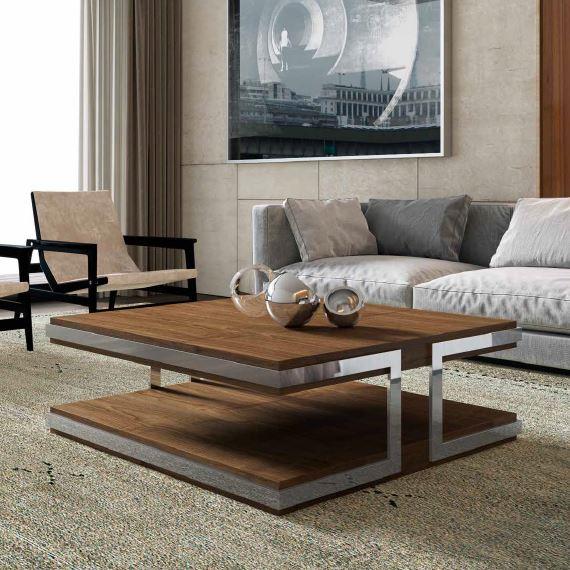 Auxival mesa de centro madera y espejo
