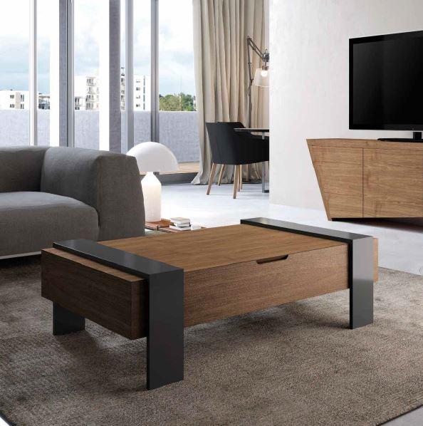 Auxival mesa de centro madera y negro