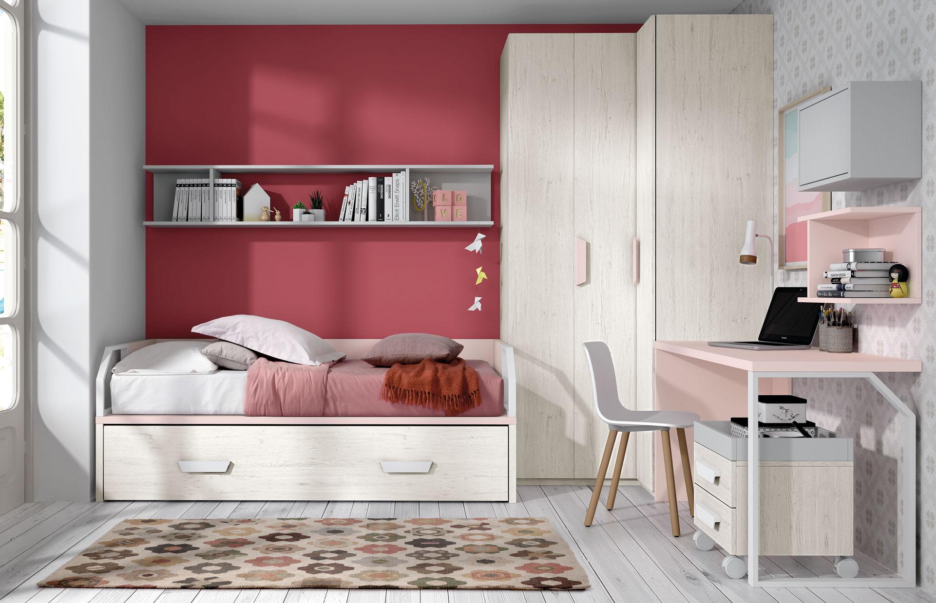 Dormitorio Juvenil Ros Nido Urban Rosa Gris