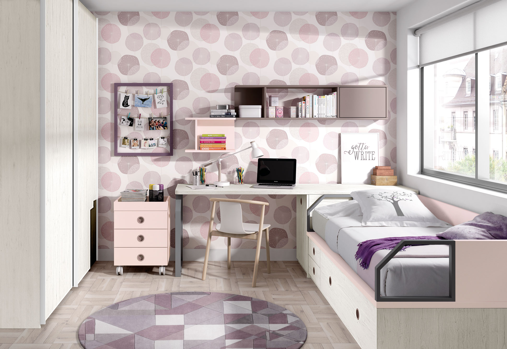 Dormitorio Juvenil Ros Nido Urban Rosa Mora