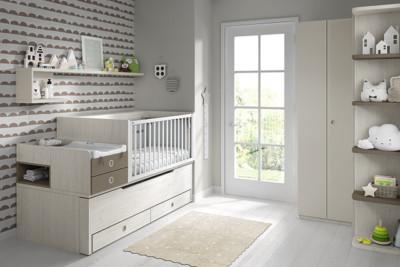 Dormitorio infantil Ros Mini: Bicama Plus con cuna urban tierra marrón