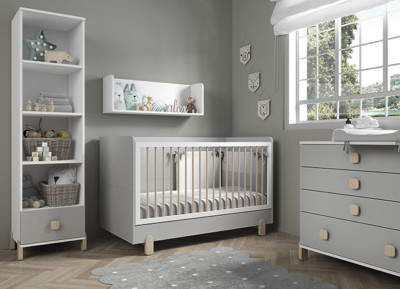 Dormitorio infantil Ros Mini: Elemental Blanco Gris Perla Arcilla