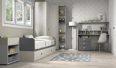 Dormitorio infantil Ros Mini: Fusion Cama blanco gris