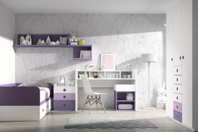 Dormitorio infantil Ros Mini: Fusion Cama blanco lila