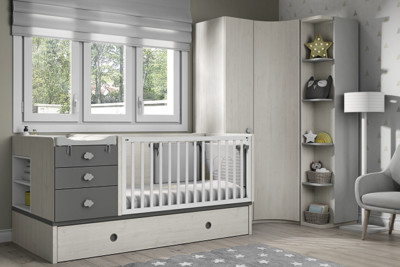 Dormitorio infantil Ros Mini: Fusion Cuna blanco gris