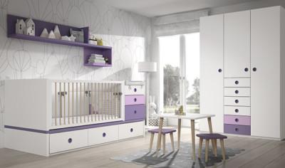Dormitorio infantil Ros Mini: Fusion Cuna blanco lila