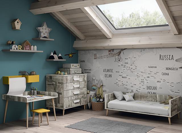 Dormitorio infantil Ros Mini: Metropili city gris amarillo