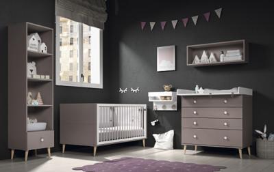 Dormitorio infantil Ros Mini: Metropoli Cuna mora blanco