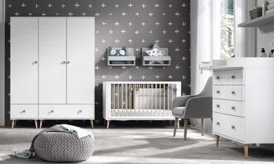 Dormitorio infantil Ros Mini: Metropoli blanco gris