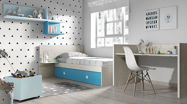 Dormitorio infantil Ros Mini Nano: Cama urban celeste dark gris