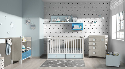 Dormitorio infantil Ros Mini Nano: Cuna urban celeste dark gris
