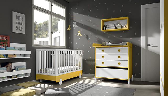 Dormitorio infantil Ros Mini: Off Beat Blanco Amarillo