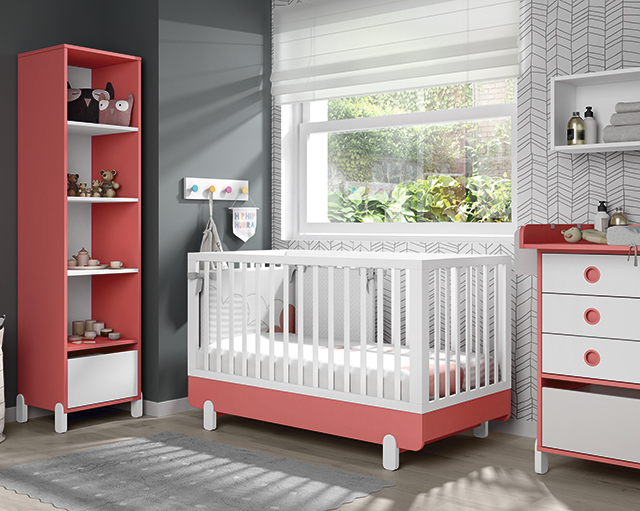 Dormitorio infantil Ros Mini: Off Beat Cuna Blanco Coral