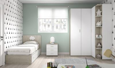 Dormitorio infantil Ros Mini Plus Cama dark blanco agua